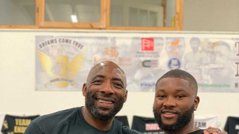 Promising middleweight Derrick Osaze with Sky Sports' Johnny Nelson