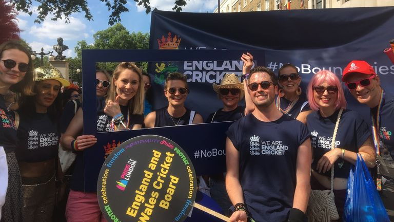 In July 2018, the ECB entered the annual Pride in London parade on its own for the first time, becoming the first UK sports national governing body to do so