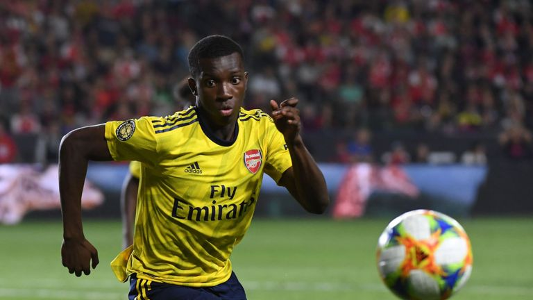 Eddie Nketiah in action against Bayern Munich