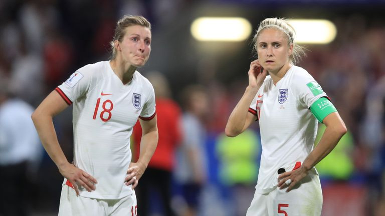 Ellen White and Steph Houghton at full-time