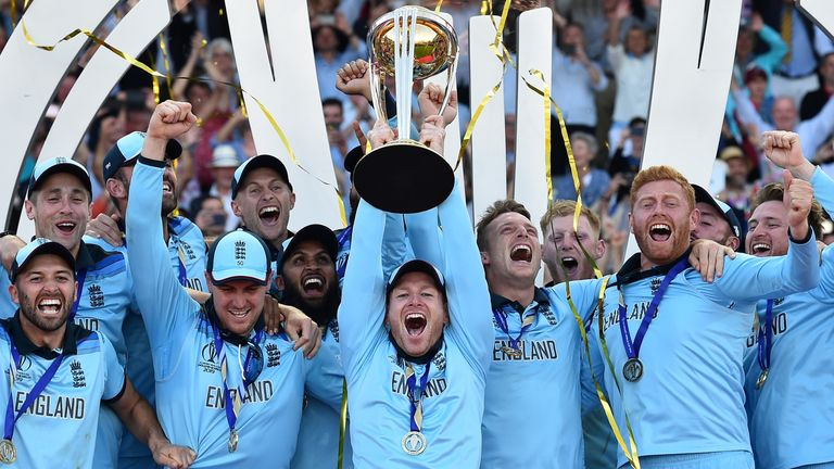 Eoin Morgan lifts the World Cup trophy after England's final success at Lord's earlier this summer
