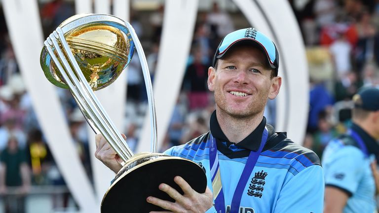 Morgan lifted England's Cricket World Cup trophy