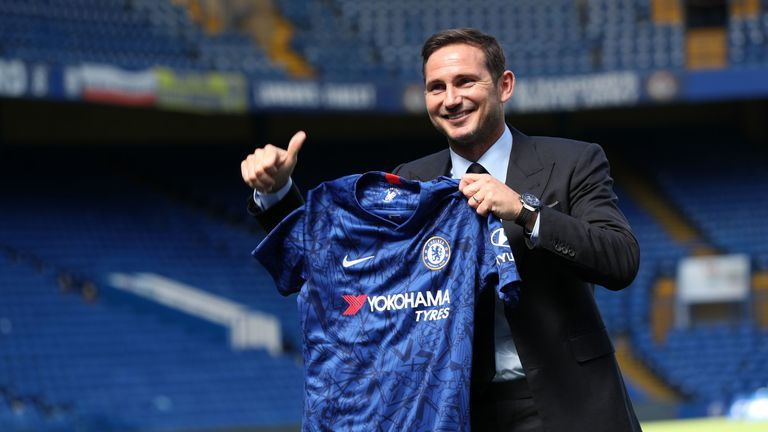 New Chelsea head coach Frank Lampard poses for a photo inside Stamford Bridge