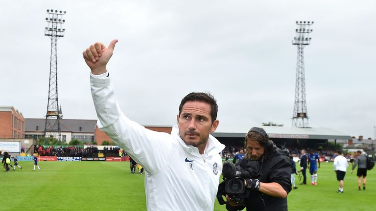 Lampard gestures to the crowd at Dalymount Park