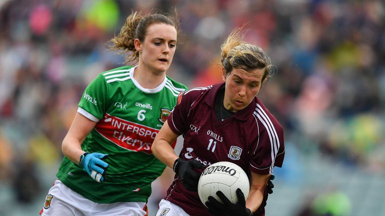Tracey Leonard of Galway in action against Ciara McManamon of Mayo