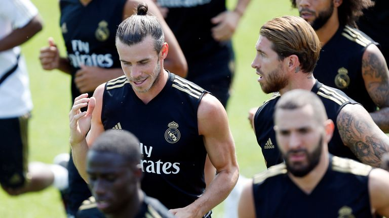 Bale in training with Real Madrid team-mates