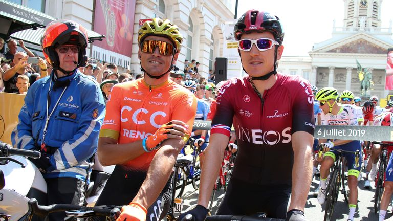 Greg Van Avermaet and Thomas at the Grand Depart of the Tour de France