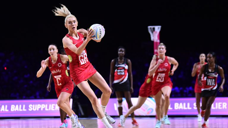 England recorded an emphatic 72-46 win over Trinidad & Tobago to move to the brink of the Netball World Cup semi-final