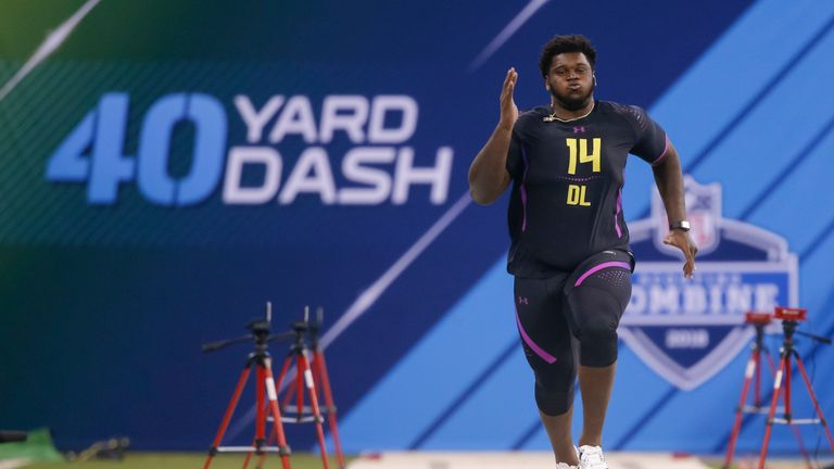Kendrick Norton during the NFL Scouting Combine in 2018