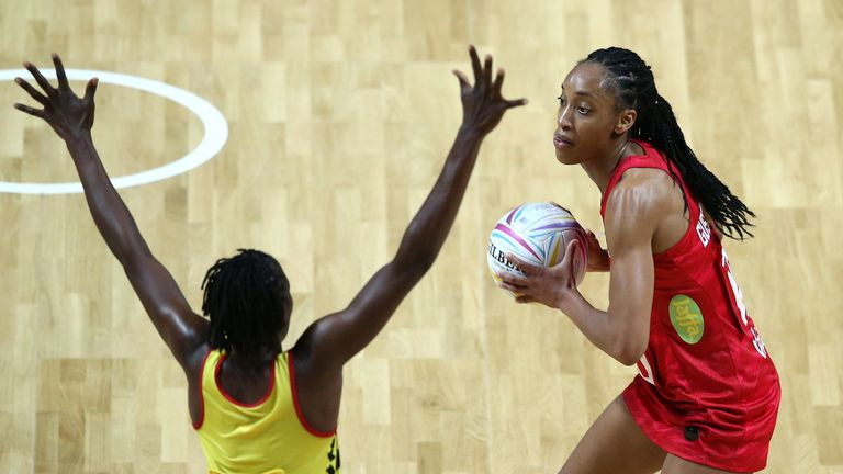 Layla Guscoth will miss the rest of the Netball World Cup after rupturing her Achilles against Scotland