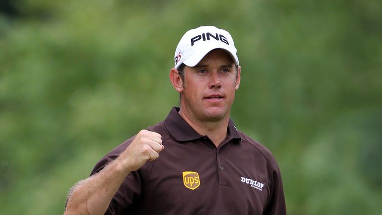 Westwood celebrates an eagle at the 16th during the third round of the 111th US Open at Congressional Country Club in 2011