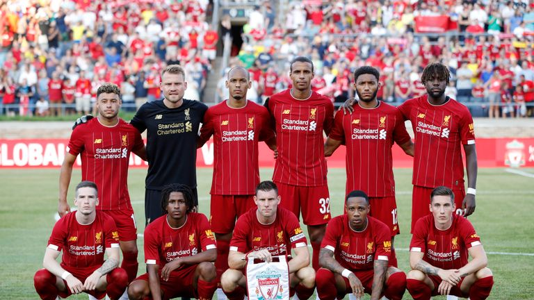 Liverpool's starting XI (from left to right): Back row - Oxlade-Chamberlain, Mignolet, Fabinho, Matip, Gomez, Origi. Front row - Kent, Larouci,  Milner, Clyne, Wilson