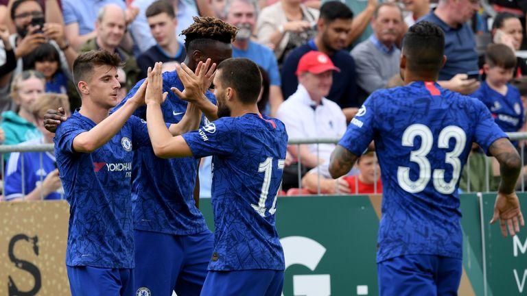 Mason Mount (left) celebrates opening the scoring for Chelsea