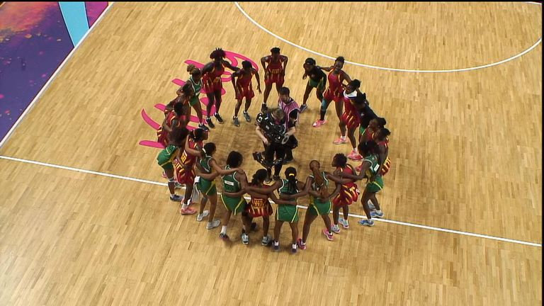 The Uganda and Zimbabwe teams joined together for a post-match dance-off