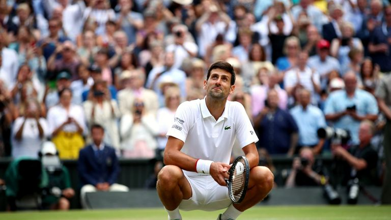Djokovic takes in the surroundings at the end of the classic match on Centre Court