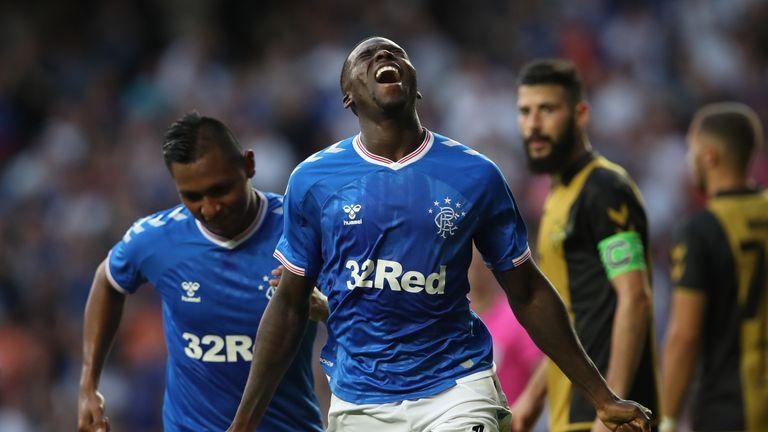 Sheyi Ojo celebrates after scoring Rangers' second goal