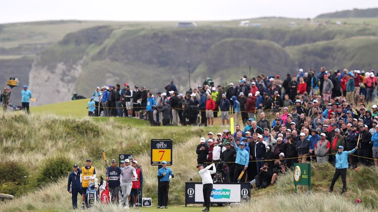 Paul Casey tees off on the seventh hole at Royal Portrush