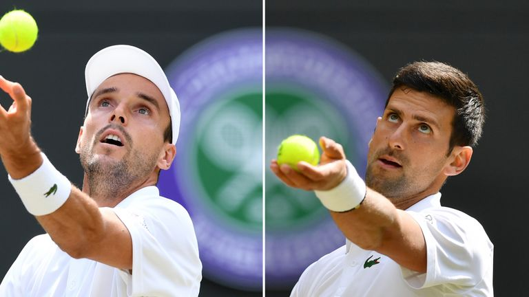 Roberto Bautista Agut (left) and Novak Djokovic face each other in the first semi-final
