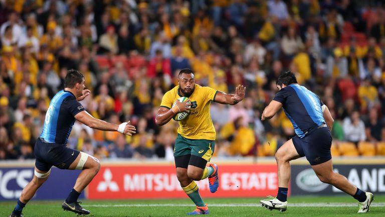 Samu Kerevi attacks the line for Australia