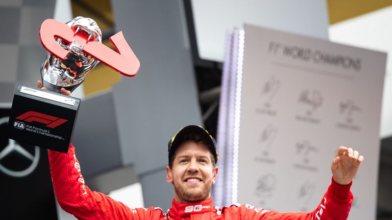 Four-time F1 champion Vettel shows his delight at having clinched second at Hockenheim