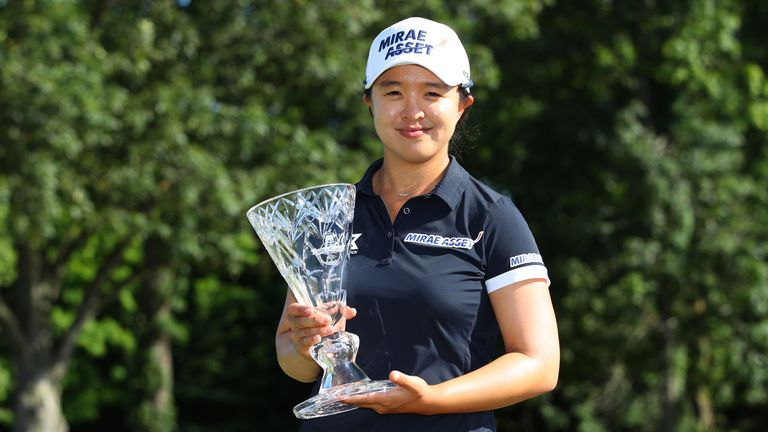 Sei Young Kim displays the Marathon Classic trophy