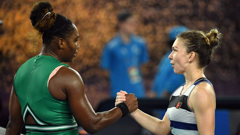 Serena Williams defeated Simona Halep in three sets in the fourth round of the Australian Open
