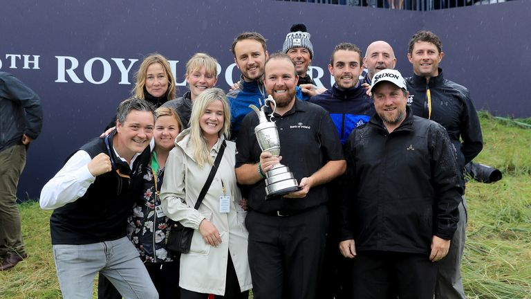 Lowry was joined by members of his family and his management team by the 18th green