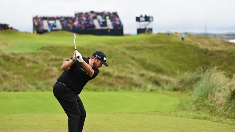 Shane Lowry tees off on the 16th hole at Royal Portrush