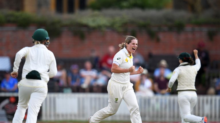 Sophie Molineux took 3-71 on her Test debut