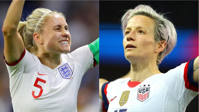 England Women captain Steph Houghton and USA Women captain Megan Rapinoe