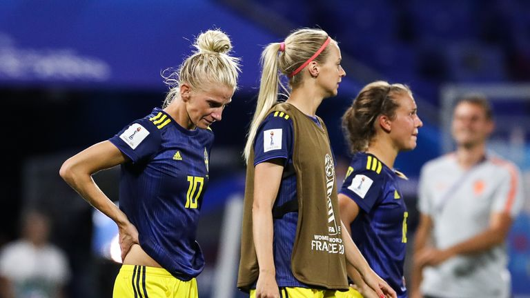 Sofia Jakobsson (left) could not help Sweden to victory against the Netherlands