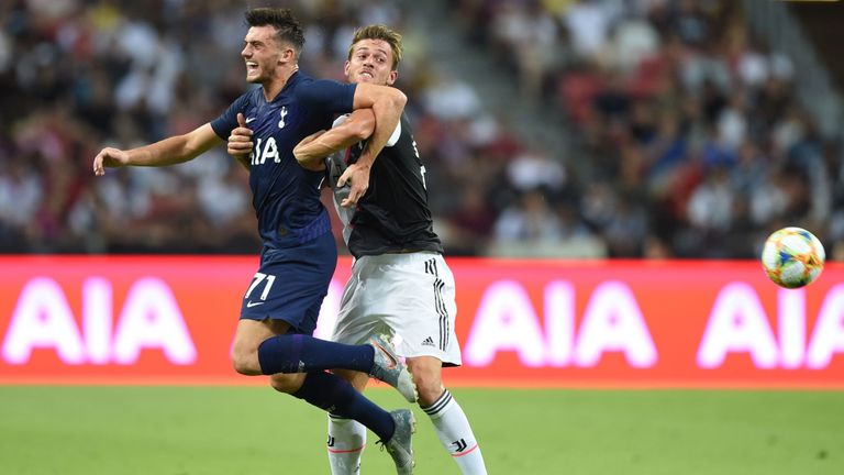 Tottenham Hotspur's Troy Parrott (left) fights for the ball with Juventus' Daniele Rugani
