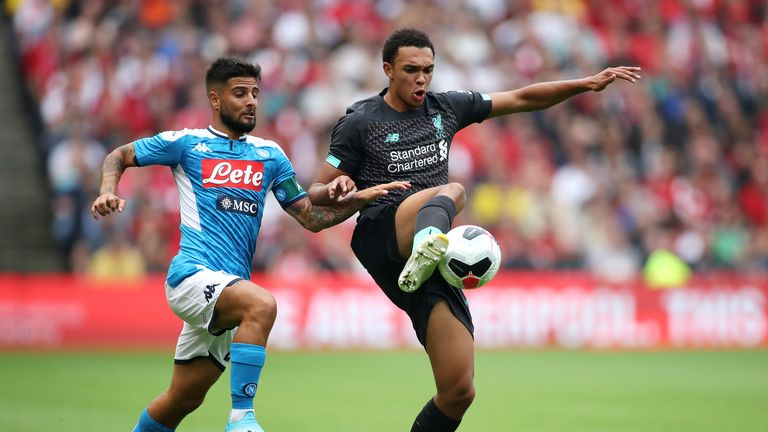 Trent Alexander-Arnold was given a tough afternoon by Lorenzo Insigne