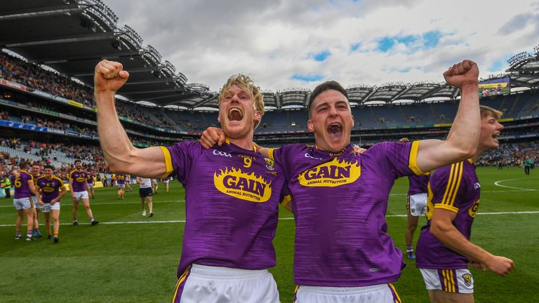 Diarmuid O'Keeffe celebrates at full-time of the Leinster final