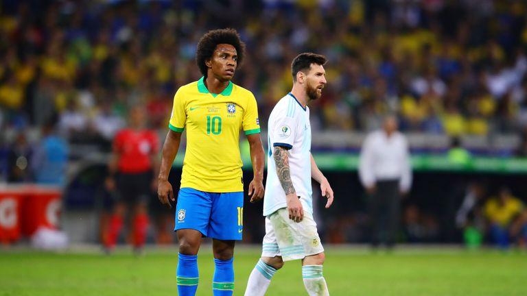 Willian was injured in Brazil's semi-final win over Argentina