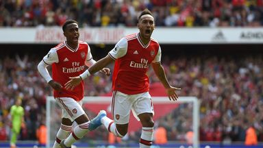 Pierre-Emerick Aubameyang celebrates after scoring Arsenal's second goal