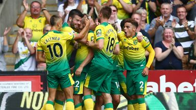 Teemu Pukki is mobbed by his Norwich teammates after giving them the lead