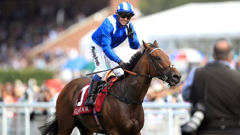 Battaash, ridden by Jim Crowley, wins the King George Qatar Stakes at Goodwood