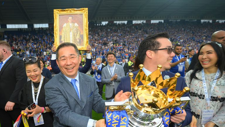 Aiyawatt Srivaddhanaprabha (right) succeeds his father Vichai (left) as chairman of Leicester City