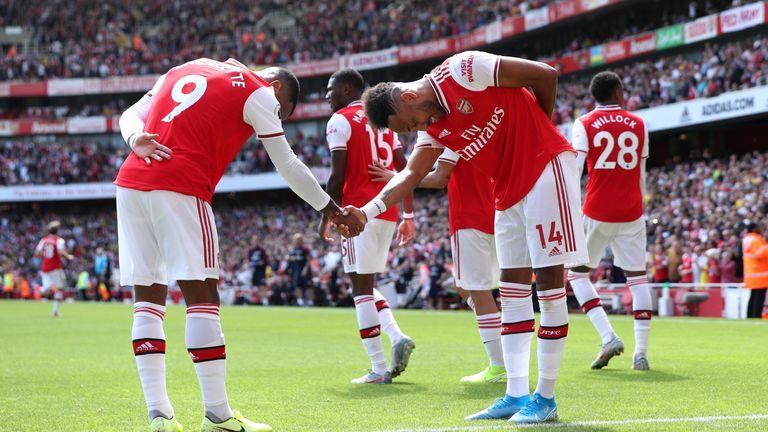 Arsenal goalscorers Alexandre Lacazette and Pierre-Emerick Aubameyang celebrate together