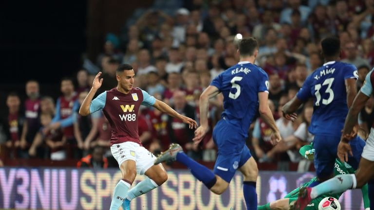 Anwar El Ghazi scores Villa's second in the fifth minute of stoppage time