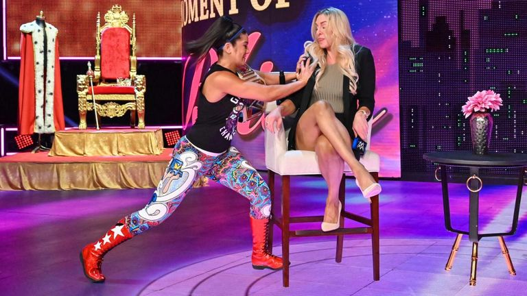 There has been glimpses of a more 'edgy' Bayley prior to his physical changes, as illustrated when she pushed Charlotte Flair off her chair without any provocation