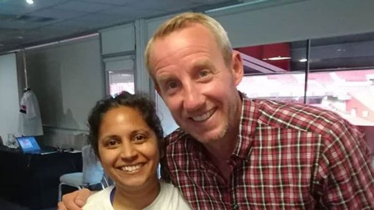 Patel poses for a photo with Charlton boss Lee Bowyer