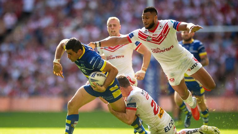 Bryson Goodwin on the charge for Warrington against St Helens