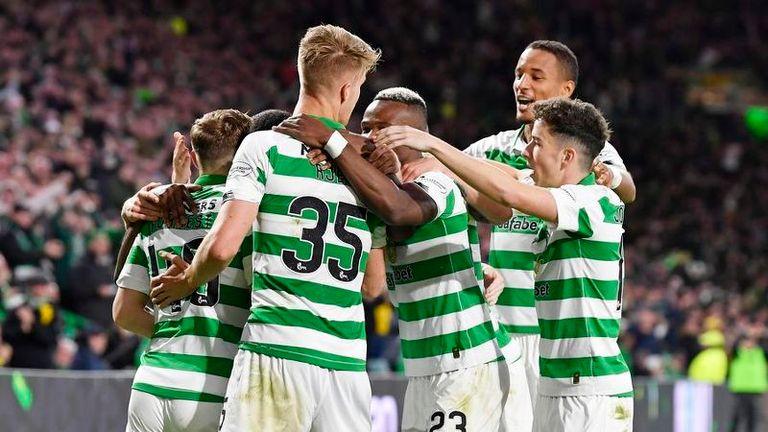 Celtic celebrate James Forrest's fine opener at Celtic Park