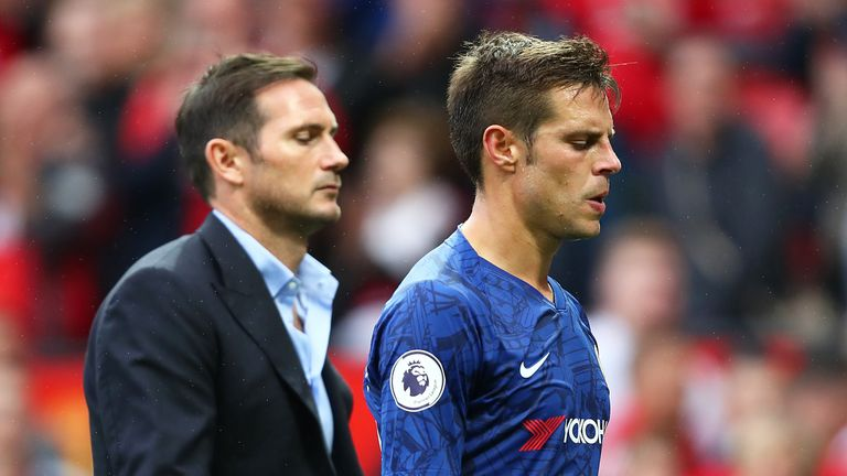 Cesar Azpilicueta had a tough day in his first Chelsea game under Frank Lampard