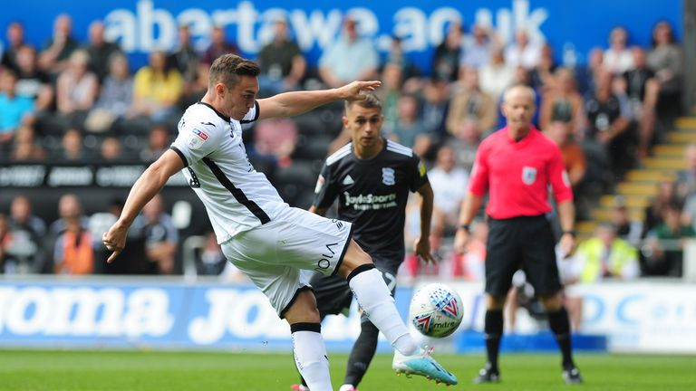Swansea's Connor Roberts in action at the Liberty