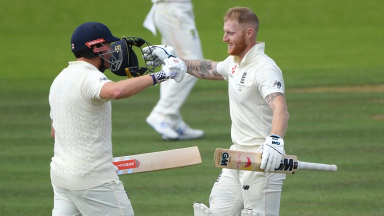 Ben Stokes (right) celebrates reaching his ton against Australia in the 2019 Lord's Test with England team-mate Jonny Bairstow