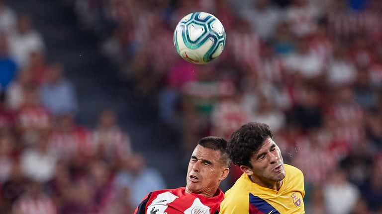 Carles Alena, 21, lasted only 45 minutes before he was hauled off for Ivan Rakitic