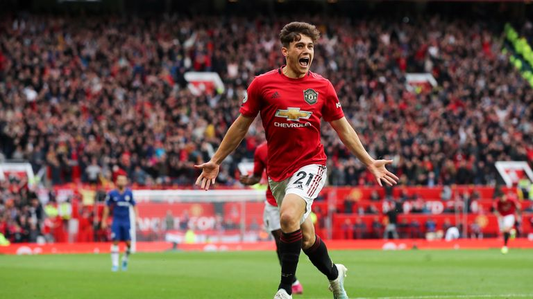 Daniel James celebrates his goal against Chelsea